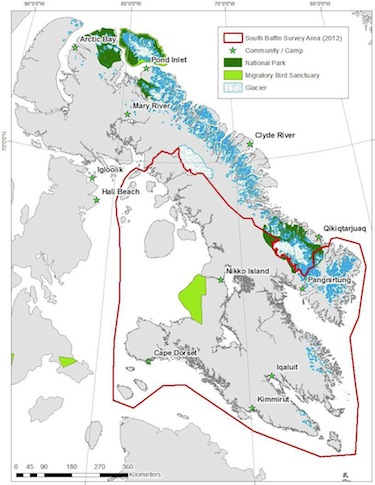 Caribou populations in the South Baffin area, shown here circled in red, may have dropped by as much as 95 per cent over the past 20 years, according to a 2012 aerial survey by Nunavut's Department of Environment.