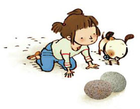 "Little Amy eyes her make-believe eggs in Sarah Tsiang's latest book, ""The Stone Hatchlings,"" about the power of a child's imagination."