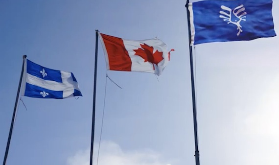 Here's what Thomassie Mangiok would like to see: a Nunavik flag flying alongside the flags of Quebec and Canada. (PHOTO COURTESY OF T. MANGIOK)