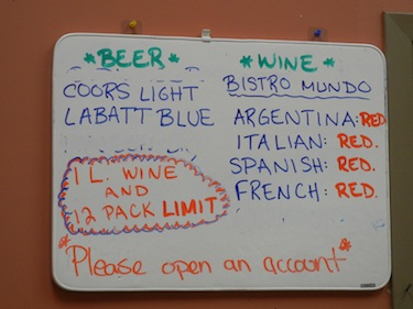 Here's what you could buy June 1, when no more Labatt Blue or Budweiser was available to buy at the co-op store in Kuujjuaq and the stock of white wine had run out. (PHOTO BY JANE GEORGE)