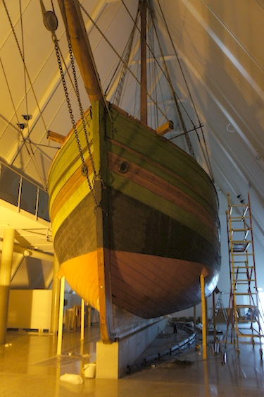 The Gjoa, the ship sailed by Norwegian polar explorer Roald Amundsen through the Northwest Passage in 1906, is now protected by a special structure at the Fram Museum in Oslo, Norway. (PHOTO BY ALEX BOYD)