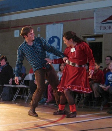 Saami choreographer and dancer Elle Sofe Henriksen and Thomas Gundersen of Norway perform Jorgghàllan at Joamie Elementary School in Iqaluit Sept. 21. (PHOTO BY PETER VARGA)