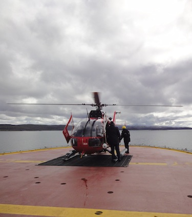 This photo shows the helicopter on board the Amundsen taking off the research icebreaker in 2010. (PHOTO BY JANE GEORGE)