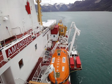 The CCGS Amundsen off Baffin Island in 2010. (PHOTO BY JANE GEORGE)