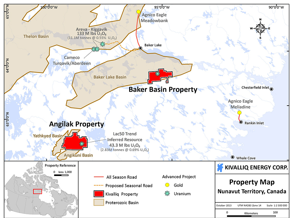 A map of the Baker basin uranium exploration property acquired by Kivalliq Energy Corp., located 60 kilometres south of Baker Lake. (IMAGE COURTESY OF KIVALLIQ ENERGY)