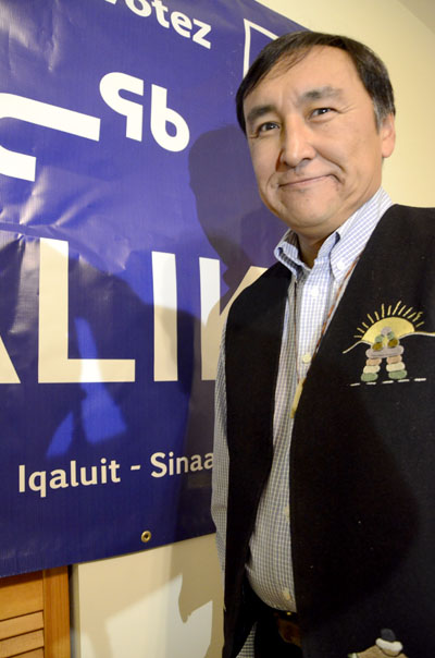 Former premier Paul Okalik shortly after he learned mid-evening Oct. 28 that he had won Iqaluit-Sinaa. (PHOTO BY DAVID MURPHY)