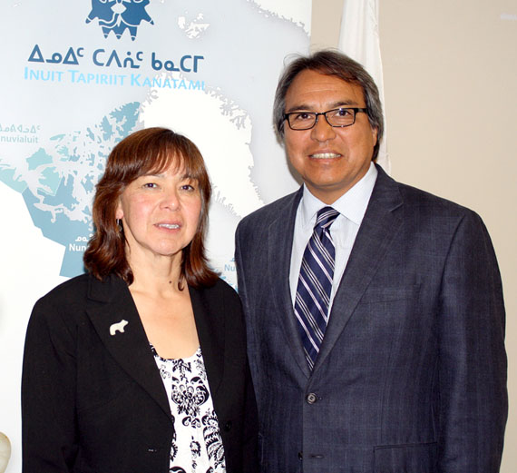 Nunatsiavut president Sarah Leo, left, led an Inuit delegation that recently met with James Anaya, the UN's special rapporteur on the rights of indigenous peoples. Anaya wrapped up his Canadian tour Oct. 15. (PHOTO COURTESY OF ITK)