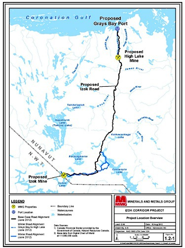 This map from the first Izok corridor project proposal shows the proposed all-weather road that would run from Izok Lake to Grays Bay on Coronation Gulf. The company has yet to submit an updated project proposal and is unlikely to do so until near the end of 2014. Until then, an environmental review of the project cannot go forward. (FILE PHOTO)