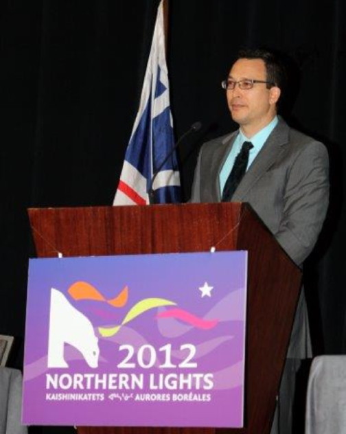 Victor Tootoo speaks at the 2012 Northern Lights Conference and Trade Show in Ottawa. (PHOTO COURTESY OF THE BRCC)