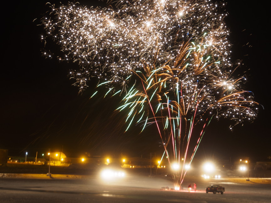 Rankin Inlet rang in the new year with style Tuesday night with a spectacular fireworks display, well attended by Rankin Inlet residents despite a temperature of -38 degrees Celsius and a stiff wind. (PHOTO BY ARCTECH DESIGN/DOUG MCLARTY)