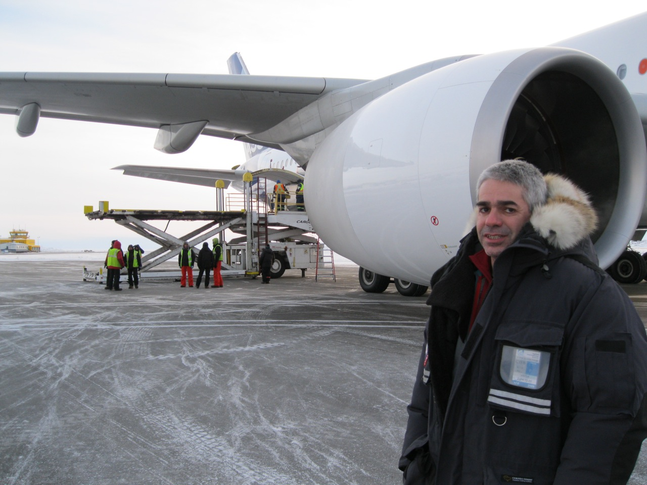 After more than two days of cold-weather testing on Airbus's newest commercial passenger plane, the A350-900, at Iqaluit Airport, flight operations manager Pedro Dias called on the 48-member test flight crew to pack it in Jan. 26, when temperatures hit a mild -18 C. The crew's next stop is Qatar in a week's time, where they will take the plane through hot-weather tests. (PHOTO BY PETER VARGA)