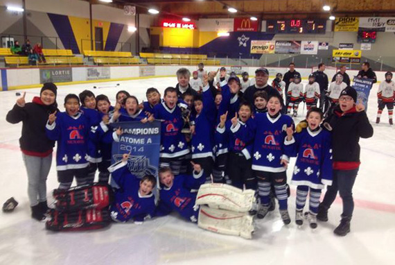 Nunavik is celebrating its second hockey championships of 2014, following the Nunavik Nordiks Atoms' first-place finish at the St-Raymond 2014 provincial hockey tournament in southern Quebec. The Nordiks came from behind to win the tournament Feb. 2 after a 2-1 victory over the Lac Etchemin Pro-Lac. The Nordiks were down 0-1 with 20 seconds left in the third period, when captain Robert Makimmak scored to tie the game. Hosea Aculiak scored another goal with less than a second left in the game to clinch the tournament. The Nordiks' midget team won another provincial championship in southern Quebec last month. (PHOTO COURTESY OF THE NUNAVIK NORDIKS)