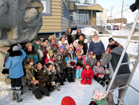 "More than 30 Iqaluit residents demonstrated support for the seal hunt and seal products by posing for a ""sealfie"" in front of the Nunavut Tunngavik Inc. monument in Iqaluit, March 27. This was their answer to celebrity talk show host Ellen Degeneres's ""selfie,"" which featured 12 movie stars and earned $1.5 million for the U.S. Humane Society, a major opponent of the seal industry. (PHOTO BY PETER VARGA)"