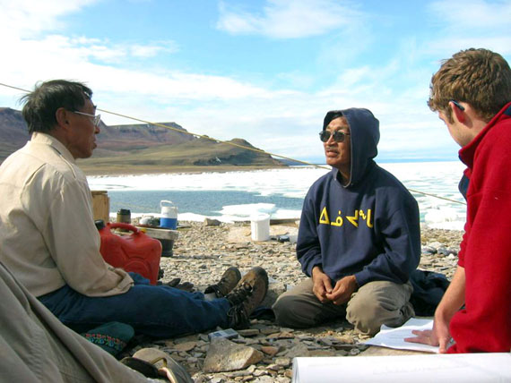Isaac Shooyook, now the MLA for High Arctic, with Kik Shappa of Arctic Bay and James Ford of McGill University in 2007 near Arctic Bay, where they worked together on a research project that looked at how climate change affects hunters. (FILE PHOTO)
