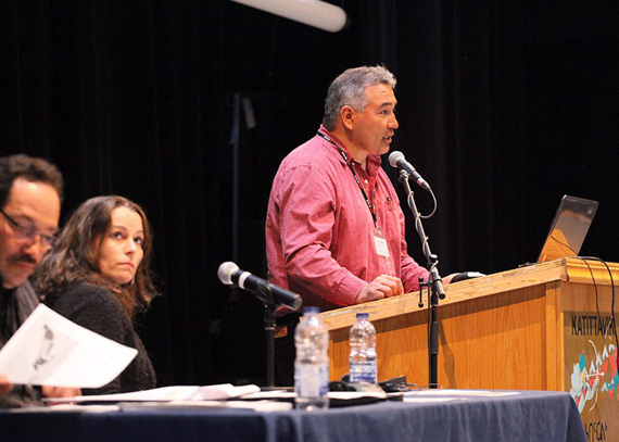 Makivik Corp. president Jobie Tukkiapik speaks at the 2014 Kuujjuaq Mining Workshop April 29 at the community's Kattitavik town hall. Tukkiapik spoke to delegates about the Parnasimautik consultations, which toured Nunavik communities through 2013 and found that Nunavimmiut want to be consulted more on mining projects in the region. The workshop runs until May 1. (PHOTO COURTESY OF MAKIVIK CORP.)