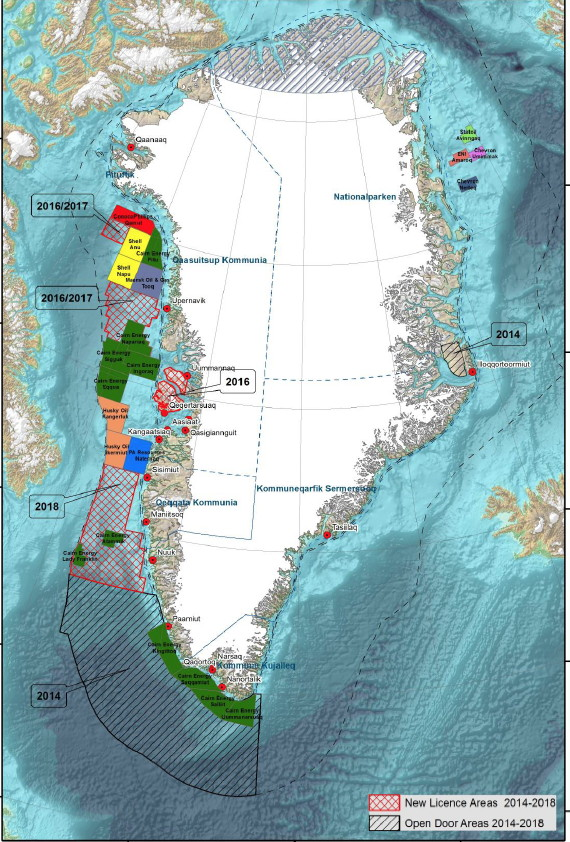 This graphic, taken from Greenland's oil and mineral strategy for 2014-2018, shows solid areas where companies such as Husky Oil, ConocoPhillips, Shell and Cairn Energy are currently exploring and lined areas where Greenland plans to grant exploration licenses in the next four years.