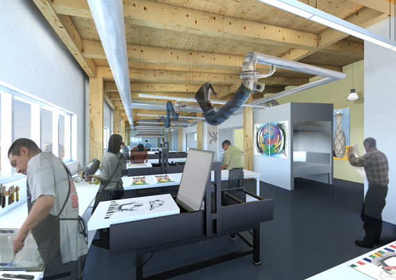 This computer-generated graphic shows what the interior of Cape Dorset's new Kenojuak cultural centre and print shop would look like after it's constructed. (IMAGE COURTESY OF PANAQ DESIGN)