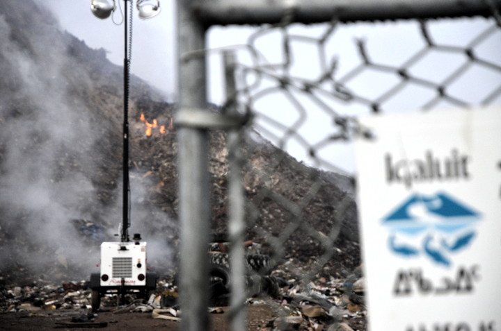 Iqaluit city councillors continue to wrestle over what to do about the municipal landfill site which has been smouldering and spewing smoke since May 20. (PHOTO BY DAVID MURPHY)