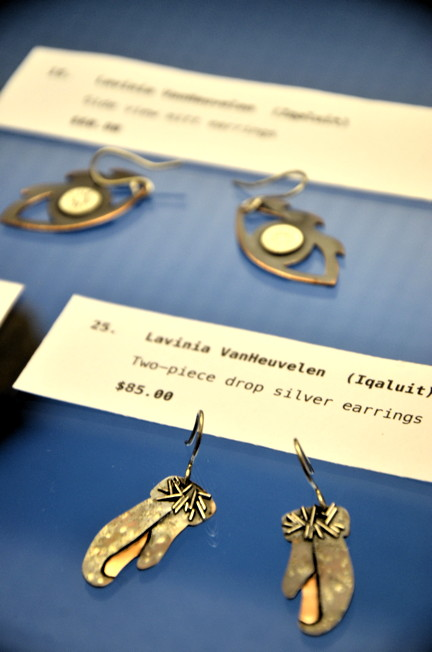 Alianait commemorative earrings such as these will be on sale, until supplies last, starting at 7 p.m. June 25 at the Nunatta Sunakkutaangit Museum in Iqaluit. (PHOTO BY DAVID MURPHY)