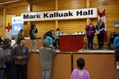 Staff with Summerhill Impact tell Arviat residents about the vehicle recycling project at a Nunavut Day event at the community's Mark Kalluak Hall July 9. (PHOTO COURTESY OF SUMMERHILL IMPACT)