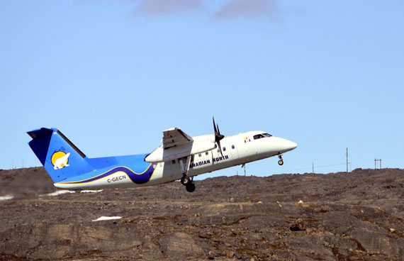 A Canadian North Dash 8, like this one pictured taking off from Iqaluit last year, experienced engine failure on a scheduled flight in the Kitikmeot region earlier this week. (FILE PHOTO)