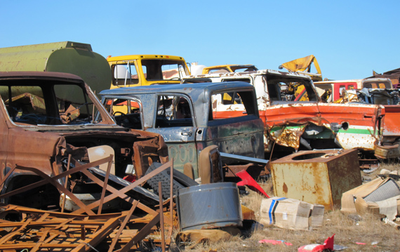 These are some of the old vehicles sitting in the Gjoa Haven landfill that Summerhill Impact hopes to depollute and ship south this summer. (PHOTO COURTESY OF SUMMERHILL IMPACT)