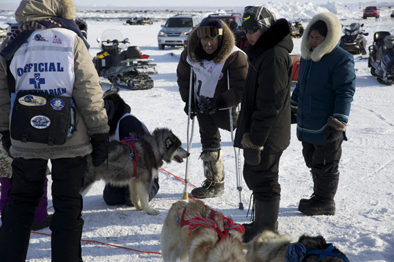 Harry Okpik checks in an his dog team during a stop along the 2014 Ivakkak race route, which he competed in with assistant musher Adamie Michaud. (PHOTO BY KATARINA SOUKUP)
