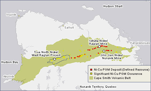 This map shows the proximity of the West Raglan property to Nunavik's two other producing nickel mines. (IMAGE COURTESY OF RNC)