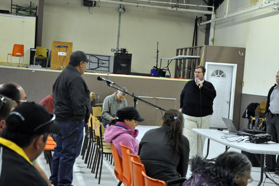 A resident of Rankin Inlet asks a question at community consultation hosted in the community this past June on Agnico Eagle Mines' proposed Meliadine gold mine. Final hearings on the project will be held in Rankin Inlet Aug. 21-27. (PHOTO BY SARAH ROGERS)