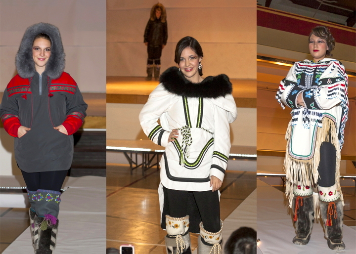 Models showcase the work of local seamstresses and artists at a Sept. 30 gala fashion show featured at the 2014 Kivalliq Trade Show in Rankin Inlet. From left: Kelli McLarty, Alayna Ningeongan and Tristan Kolola. The trade show winds up today with presentations focusing on training and literacy, an art market and an evening banquet and auction featuring the Agaaqtoq Band from Arviat. Trade show organizers have also set up an Oct. 2 tour of Agnico Eagle's Meliadine gold mine  property for youth, out-of-town delegates and exhibitors. (PHOTO BY DOUG MCLARTY/ARCTECH DESIGN & SERVICES)