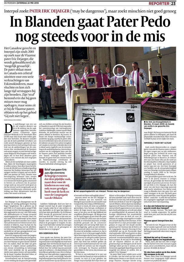 A Belgian newspaper article published in 2010 that exposed
