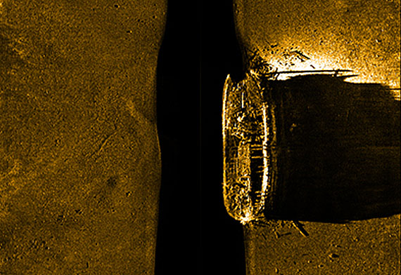 This sonar image from Parks Canada shows wrecked ship lying at the bottom of the sea, found Sept. 7 in the area of Victoria Strait. The wreck is believed to be one of ships lost in the Franklin Expedition of 1845-46 — either the HMS Terror or HMS Erebus. (IMAGE FROM PARKS CANADA)