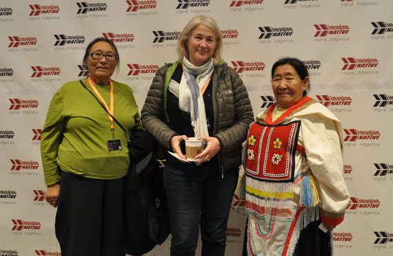 Arnait Video Productions' Susan Avingaq, Marie-Hélène Cousineau and Madeleine Ivalu at Toronto's imagineNATIVE film and media arts festival Oct. 24 ahead of the world premiere of their new documentary, Sol. (PHOTO BY SARAH ROGERS)