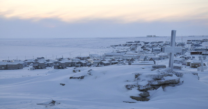 A shot of Igloolik in the waning, late-November light, as seen from