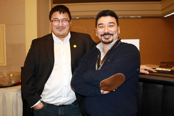 Duane Smith, president of the Inuit Circumpolar Council (Canada) and Inuit Tapiriit Kanatami president Terry Audla take a moment for the camera at the 2013 ArcticNet annual conference hosted in Halifax. (FILE PHOTO)