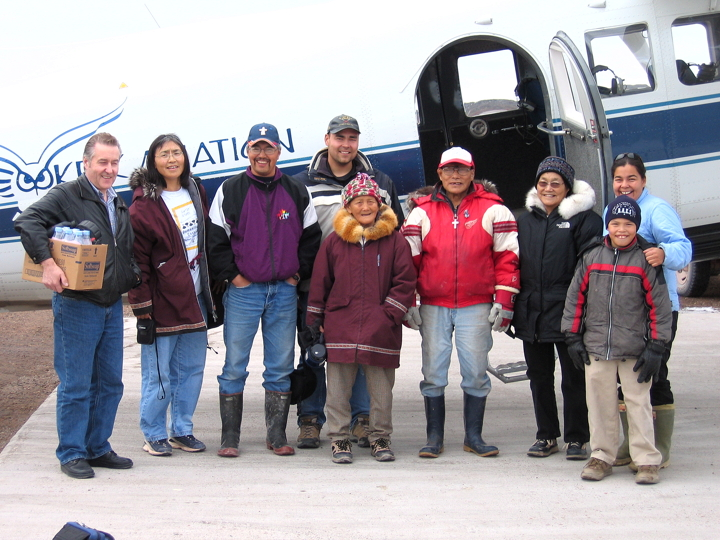 Baker Lake's Paula Kigjugalik Hughson, far right, flew over traditional lands west of Baker with family members in 2005 to document Inuit history and knowledge. From left: John Michael Hughson, Joan Qilluaq Killulark, Victor Ujumngat Killulark, Erik Amaruq Hughson, Hannah Taliruq Killulark, John Killulark, Betty Natsialuk Hughson and Moses Aliqtiksaq Killulark. (PHOTO COURTESY PAULA HUGHSON)