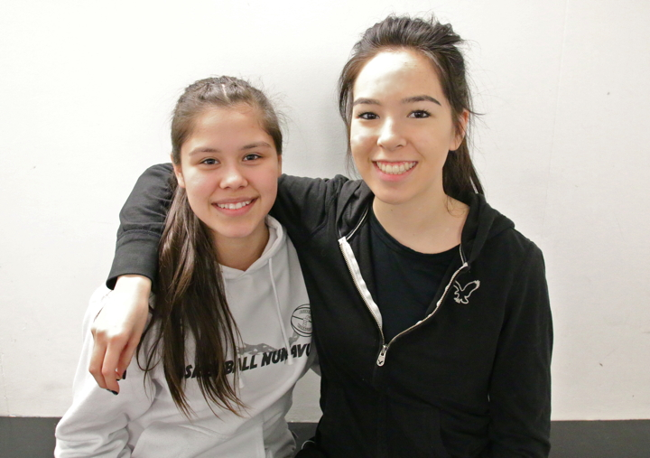 Alysha Maksagak, left, and Danielle Omilgoetok, two Cambridge Bay teenagers, are off to Ottawa Feb. 1 for a youth leadership conference called Encounters with Canada. (PHOTO BY KELCEY WRIGHT)