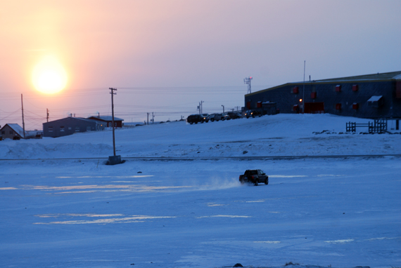 A driver in Rankin Inlet takes an early morning short cut across the community's frozen Williamson Lake Jan. 30. Rankin Inlet and much of the Kivalliq region are in a deep freeze this week, with temperatures in the low minus thirty degrees Celsuis and blizzard warnings in effect for the next two days. (PHOTO BY NOEL KALUDJUK)