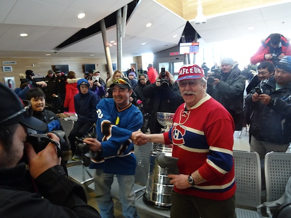 Fans gather in the Kuujjuaq airport March 27 to greet the Stanley Cup when it arrived for its four-hour stopover in the Nunavik hub. (PHOTO BY JANE GEORGE)