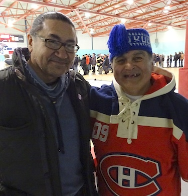 Nunavik MP Romeo Saganash meets constituent Sandy Gordon as they come to see the Stanley Cup on its brief stop in Kuujjuaq. (PHOTO BY JANE GEORGE)