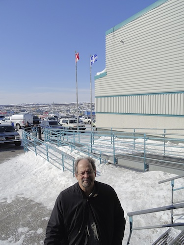 Quebec's Aboriginal affairs minister Geoff Kelley, seen here on the stairs of the Kuujjuaq Forum, left Quebec City after the March 26 release of the Quebec 2015-16 budget so he could meet with delegates to the Makivik Corp. AGM March 27. (PHOTO BY JANE GEORGE)