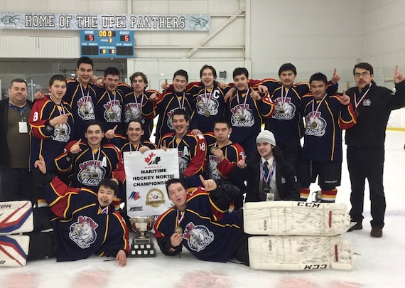 "Team Baffin Blizzard, with representatives of Nunavut's highest level of hockey, pose as winners of the 2015 Maritime Hockey North Junior Championships in Charlottetown, Prince Edward Island, March 29. The Blizzards battled against four of the best teams at the Junior C level from New Brunswick, Nova Scotia, and P.E.I. to win the championship for Nunavut for the first time in the tournament's 13-year history. ""They just never gave up, right to the very end,"" said coach Mike Gardner. The Blizzards defeated the Southside Lynx of P.E.I., 6-5 in the final game. The victors set out on their long journey home the next day, passing through Moncton, N.B. and Ottawa, and were expected to arrive in Iqaluit with their medals on March 31. (PHOTO COURTESY OF MIKE GARDNER)"