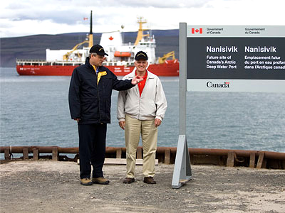 Prime Minister Stephen Harper and Gordon O'Connor, then the minister of national defence, on Aug. 10 2007, when they announced creation of a naval station at Nanisivik. Under their original plan, construction would have begun in 2010 with completion by 2015. The facility is now likely to open by 2018. (FILE PHOTO)