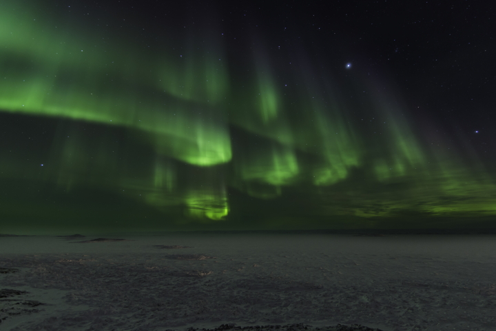Aurora borealis over Frobisher Bay. (PHOTO BY MARK ASPLAND)