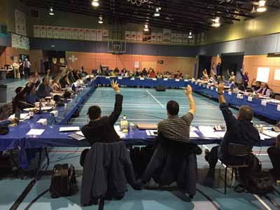 Regional representatives of Makivik Corp. and other Nunavik organizations voted March 26  to adopt the 2015 Nunavik declaration. (PHOTO COURTESY OF MAKIVIK)