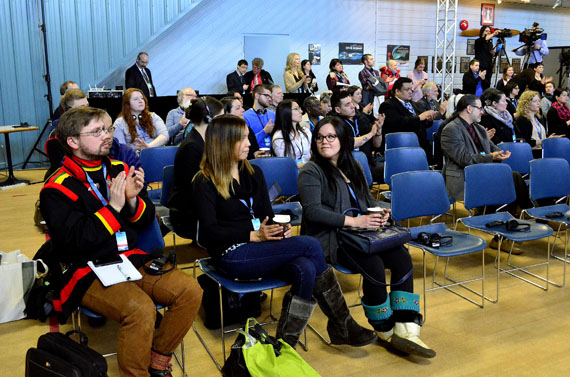 Delegates attending the Arctic Council circumpolar mental wellness symposium in Iqaluit last week. The purpose of the gathering was to provide a place for health workers and researchers from the Arctic Council's member states to share best practices and learn from each other. (PHOTO BY JIM BELL)