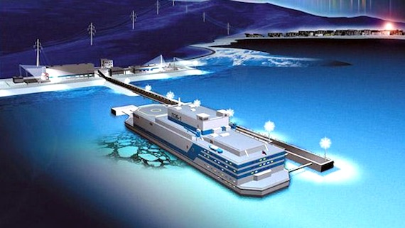 Here's an artist's depiction of a floating nuclear power plant that could provide power to mines in Nunavut, be modified to serve as floating desalination plants or serve as a power source for a community in an emergency situation. (IMAGE FROM OKBM)