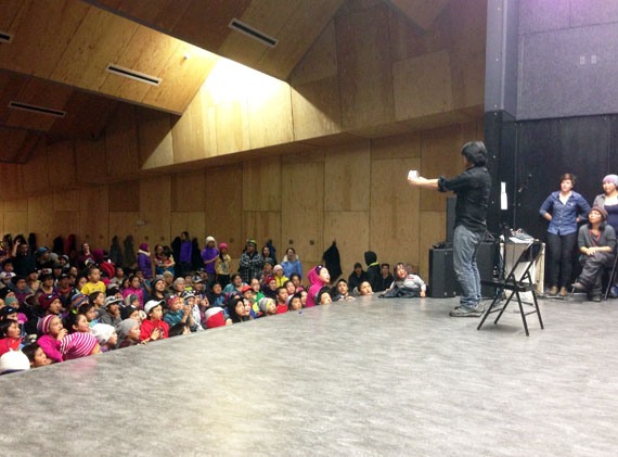 Jimmy Tommy Kumarluk from Kuujjuaraapik, a magician with the Cirqiniq program, performs his tricks in Igloolik earlier this month. (PHOTO COURTESY OF THE KRG)
