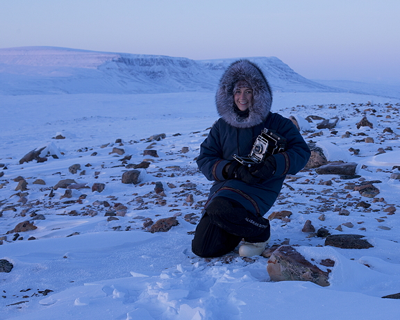 A self-portrait on the land with Peugatuk Ettuk in January 2015. (PHOTO BY ACACIA JOHNSON)