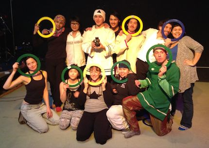 Performers from both Cirqiniq and Artcirq pose together at Igloolik's Black Box theatre space during a week-long workshop. (PHOTO COURTESY OF ARTCIRQ)
